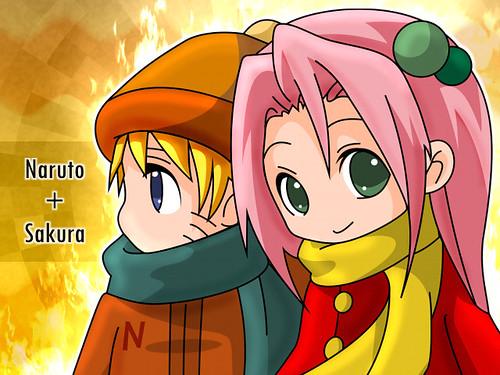 Sakura y Naruto Chibis by GamiKun.