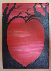 Crimson Heart - acrylic painting on canvas