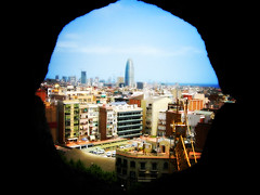 viewBarcellona (willysaw) Tags: urban window colors skyline photoshop canon vintage lomo retro finestra vista sagradafamilia palazzo effect architettura barcellona compositing citt agbar saverio sfocato jeannouvel webart effetto willysaw saveriovillirillo 4elle villirillo effettiphotoshop scattodigitale