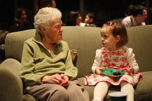 Grandma, Molly, and the last bite of cake.