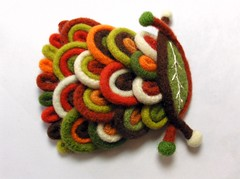 felt brooch (woolly  fabulous) Tags: wool leaves felted colorful pin handmade brooch felt thrifted