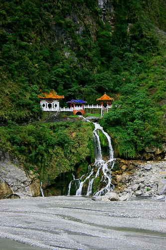 Temple and Waterfall