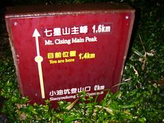 七星山里程碑 目前位置1.4km