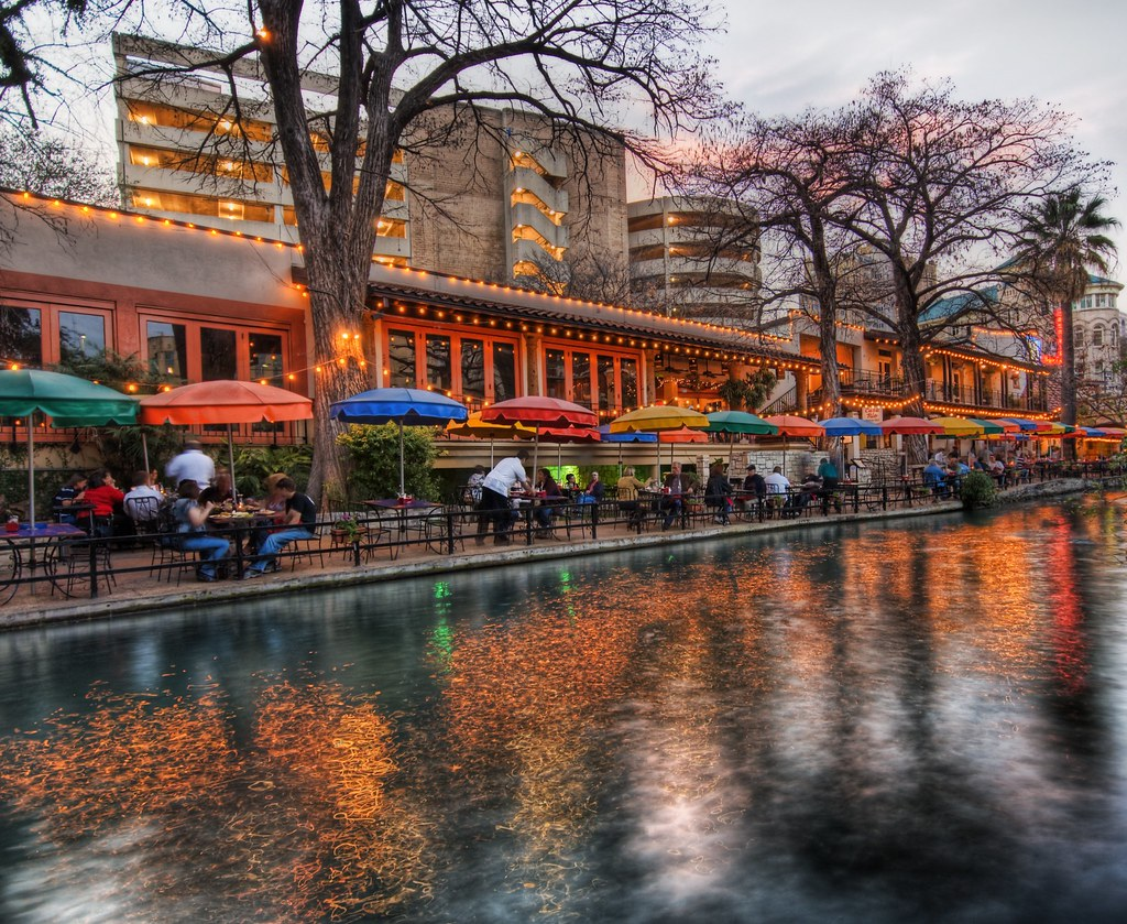 The River Walk at Sunset in San Antonio