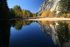 Yosemite National Park (flickrgao) Tags: park blue usa color fall water beautiful landscape photo nationalpark still warm fallcolors picture bluesky photograph yosemite yosemitevalley refelection