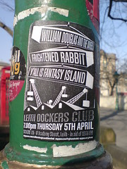 Frightened rabbit hiding where? (justinep) Tags: rabbit club flyer edinburgh lamppost advert leith frightened fantasyisland frightenedrabbit whereedin chrisdoniawon leithdockersclub
