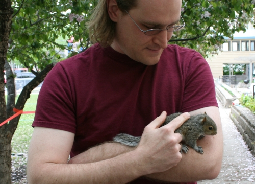 ian and baby squirrel