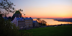 Sunrise over Quebec city (Nino H) Tags: city canada building architecture sunrise river hotel soleil spring quebec qubec stlawrence stlaurent chateau printemps hdr ville vieux lever frontenac oldquebec