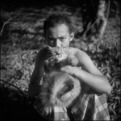 The untitled (Harizazman) Tags: bw 120 film cat mediumformat kodak naturallight human interest johor mersing kain ektacolor pelekat seagull4 boyexpression harizazman