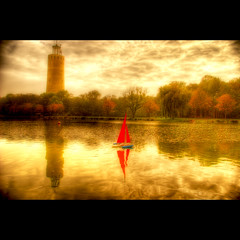 RC Boat (Dimitri Depaepe) Tags: autumn trees reflection water clouds boat bravo watertower hdr orton magicdonkey infinestyle thegoldenmermaid masterofclouds rcradiocontrolled
