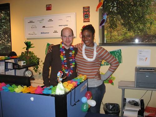 adilah and i pose at my cubicle