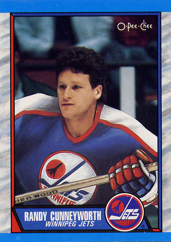 Randy Cunneyworth, Winnipeg Jets, O-Pee-Chee, 89-90, hockey, hockey cards, bad airbrushing