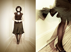 dolled up (jasfitz) Tags: selfportrait home sepia scarf vintage hall highheels dancing legs spin corridor skirt hallway sp twirl fancy heels grainy stocking occasion dressy outing pinstripe woodfloor calves twirly