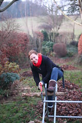 Preparing for Christmas in Kent (JB photographer) Tags: christmas wood family beauty leaves fire saw kent bokeh hannah daughter logs actress chop 1000views sawing newnham sigma30mmf14 analoguetheatre fringefirst copyrightjonathanbarkerphotographer syndalevalley