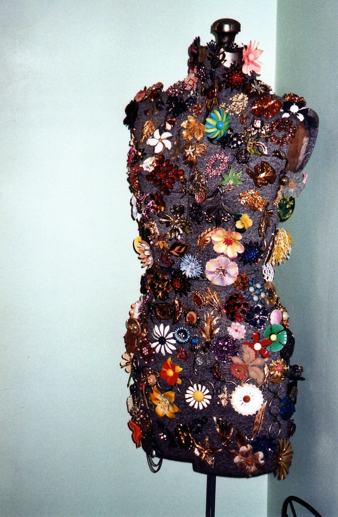 brooches on a dress form, dec. 07