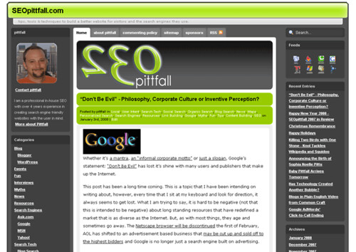 SEOpittfall.com new look for 2008