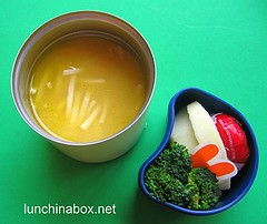Chicken noodle soup lunch for preschooler