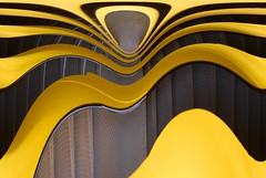 Vertigo III (edouardv66) Tags: black strange yellow stairs photoshop spiral industrial steps editing crooked spiralstaircase distort colimaçon praille flickrgeneva flickrgenève parkingetoile withjanidavidjulienludotom lapraille02032008