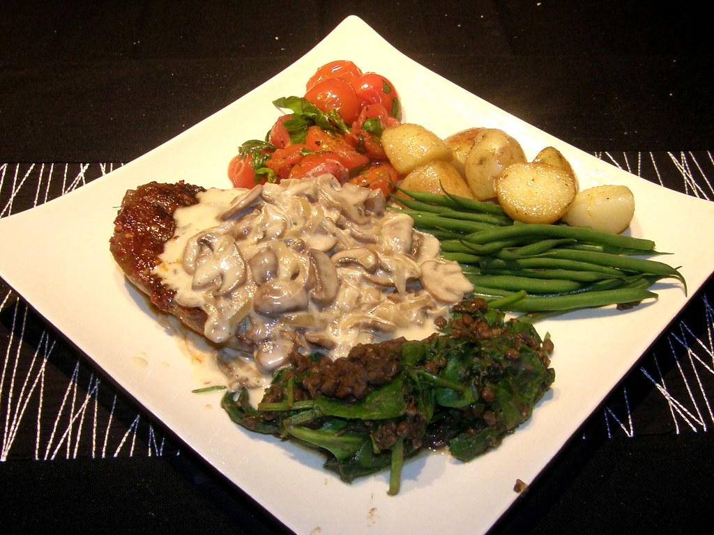 Angel-Devil Steak, Fried Potatoes, Creamy Mushroom Sauce