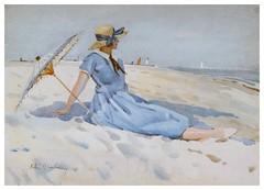 "Art : Water Colour : ""The Blue Summer Dress"" . (Lenton Sands) Tags: beach painting parasol watercolour widebrimmedhat bluesummerdress"