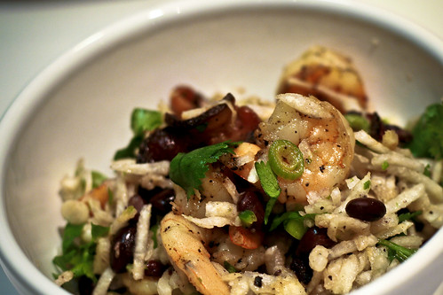 shrimp, jicama & black bean salad w/lime serrano pepper dressing