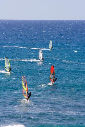 Windsurfing in Waipio Bay