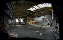 A pano for p0ps (Eva the Weaver) Tags: roof abandoned window gteborg graffiti sweden pano gothenburg skylight warehouse calico graff arcs 22piecesstitched waterloogatan
