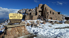 Mt Evans Summit in Summer (issyr) Tags: samsunggalaxys5cellphone usa unitedstates northamerica colorado mtevans mountevans scenicbyway highway summit 14130ftelevation rockymountains mountain snow summer denver landscape scenic high cresthouse scenery beauty beautiful landmark bluesky blueskies rocks peak colorado14er fourteener hike hiking history historic originalimagesize5132x2988 majestic highestpavedhighway touristic tourist vacation travel recreation recreational