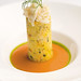 tian of Dungeness crab and couscous with smoked tomato gazpacho