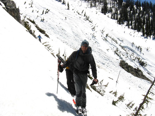 crossing the avy slopes on the way home