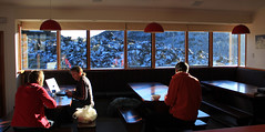Chilling (149:365) (anakiwa_forever) Tags: windows snow kate hans lodge diningroom tongarironationalpark 365 mika whakapapa mtruapehu wtmc 149365 wellingtontrampingmountaineeringclub