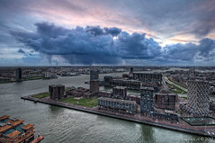 No rain!? / Euromast / Rotterdam (zzapback) Tags: city bridge urban cloud storm holland robert netherlands dutch rain river de shower rotterdam europa europe fotografie nederland center maas hdr regen stad euromast erasmusbrug wolk rivier voogd rotjeknor vormgeving photomatix grafische bergselaan liskwartier zzapback zzapbacknl robdevoogd stayawakeenjoyyourday