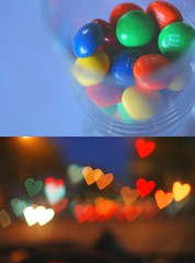 Sweet (silkegb) Tags: light blur color luz night noche diptych candy heart sweet chocolate mm corazon dulce diptico mywinners abigfave