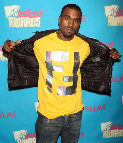 Kanye West wearing a t-shirt