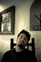 Sometimes you just have to wake up (Luis Montemayor) Tags: man mexico restaurant chair nap restaurante silla sista hombre realdecatorce cybergus dflickr dflickr180307 abelardoojeda