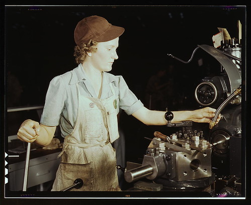 Beulah Faith, 20, used to be sales clerk in department store, reaming tools for transport on lathe machine, Consolidated Aircraft Corp., Fort Worth, Texas (LOC) by The Library of Congress.