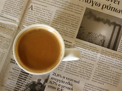 Coffee & news (jimiliop) Tags: morning brown news hot cup coffee greek reading newspaper warm factory drink letters cream picture greece stats espresso alphabet language unemployment mywinners aplusphoto llovemypics