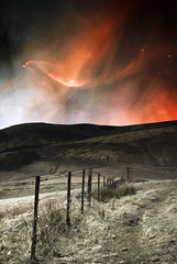 Pentland hills with some northern lights (Semi-detached) Tags: night fence stars landscape lights scotland colours image space scene nasa aurora april northern tableau 2008 lothians borealis pentlands supershot diamondclassphotographer
