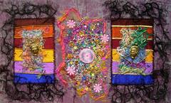 Let them talk (Karen Cattoire) Tags: original art colorful handmade embroidery originalart creation fabric fiberart beading textileart tissu abstrait textiledart karencattoire fibretextile arttexilte