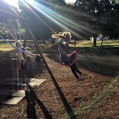 Swing jumping in sunbeams. Franklin. Tasmania. (miaow) Tags: bellalunaboat tasmania summer2017 swings franklin zoe 9yo sunshine