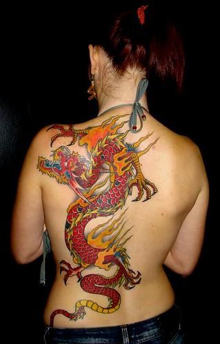 red dragon tattoos. Red Dragon tattoos at women