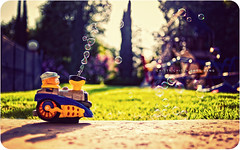 Chitty Chitty Bang Bang (isayx3) Tags: color train 35mm toy nikon dof bokeh sunday bubbles bubble choo f2 nikkor maker d3 muted plainjoe isayx3