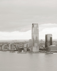 Jersey City Friday Morning (Jay Fine) Tags: water sepia newjersey nj hudsonriver goldmansachs colgateclock
