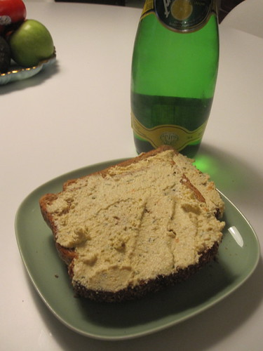 Toast with tofu spread, Perrier