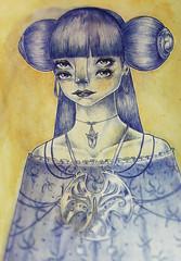 girl by fernando forero 01 (fernandoforeroart) Tags: blue art girl beauty illustration pen watercolor hair paper cool eyes fernando a4 ballpointpen fernandoforero