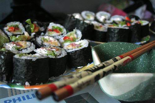 Handmade sushi rolls