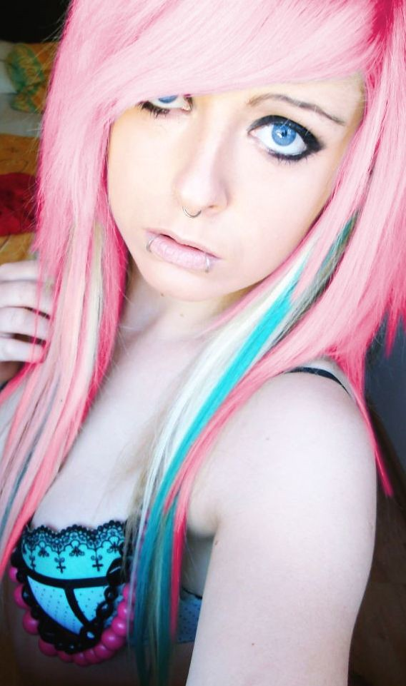pink blonde blue turquoise long emo scene hair style for girls