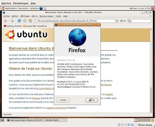 firefox 1.5.0.3 sous Ubuntu 6.06.1 LTS