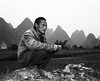 Farmer (mexadrian) Tags: china blackandwhite landscape yangshuo farmer 6x7 plaubel makina limestonepeaks