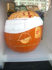 This pumpkin may need to protect its brain from imminent ZOMBIE ATTACK! Photo by Brett L.